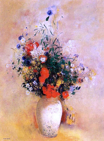 Odilon Redon Flowers in a Chinese Base - Hand Painted Oil Painting