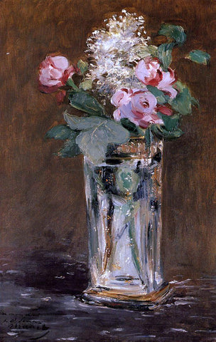 Edouard Manet Flowers in a Crystal Vase - Hand Painted Oil Painting