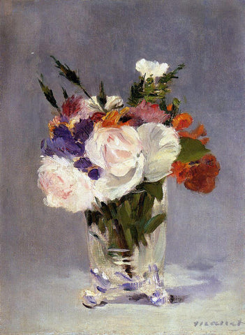 Edouard Manet Flowers in a Crystal Vast - Hand Painted Oil Painting