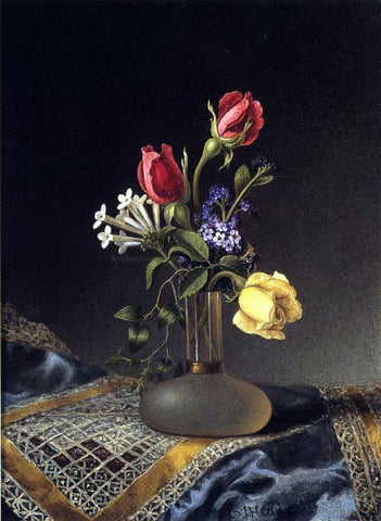 Martin Johnson Heade Flowers in a Frosted Vase - Hand Painted Oil Painting