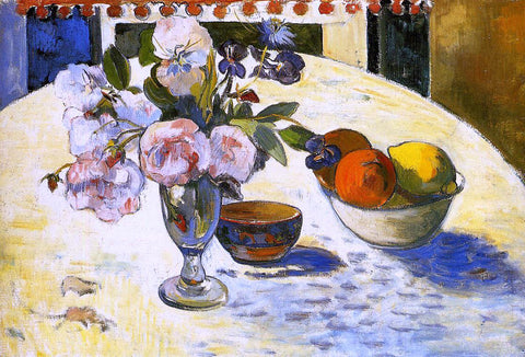 Paul Gauguin Flowers in a Fruit Bowl - Hand Painted Oil Painting