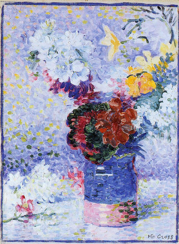 Henri Edmond Cross Flowers in a Glass - Hand Painted Oil Painting