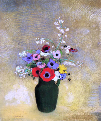 Odilon Redon Flowers in a Green Pitcher - Hand Painted Oil Painting