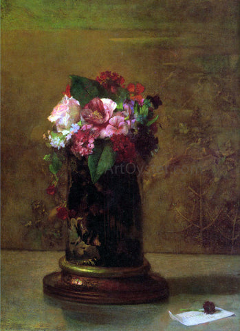 John La Farge Flowers in a Japanese Vase - Hand Painted Oil Painting