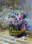 Claude Oscar Monet Flowers in a Pot (also known as Roses and Baby's Breath) - Hand Painted Oil Painting