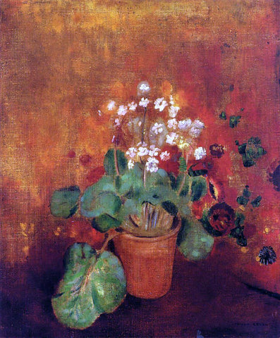 Odilon Redon Flowers in a Pot on a Red Background - Hand Painted Oil Painting