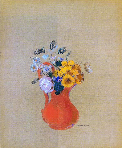 Odilon Redon Flowers in a Red Pitcher - Hand Painted Oil Painting