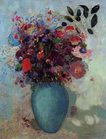 Odilon Redon Flowers in a Turquoise Vase - Hand Painted Oil Painting