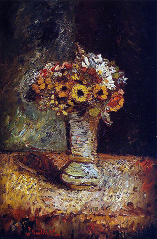 Adolphe-Joseph-Thomas Monticelli Flowers in a Vase - Hand Painted Oil Painting