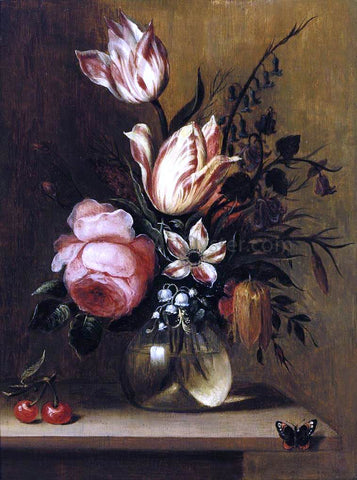 Hans Bollongier Flowers in a Vase - Hand Painted Oil Painting