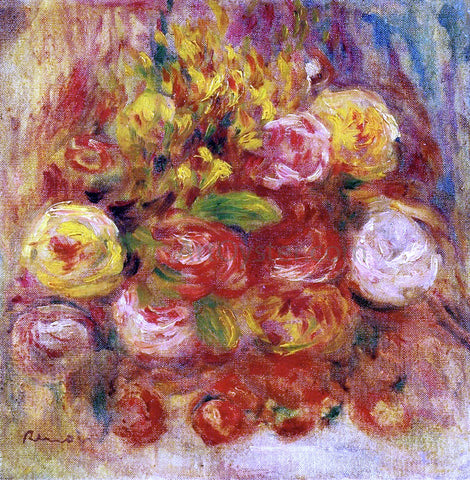 Pierre Auguste Renoir Flowers in a Vase with Blue Decoration - Hand Painted Oil Painting