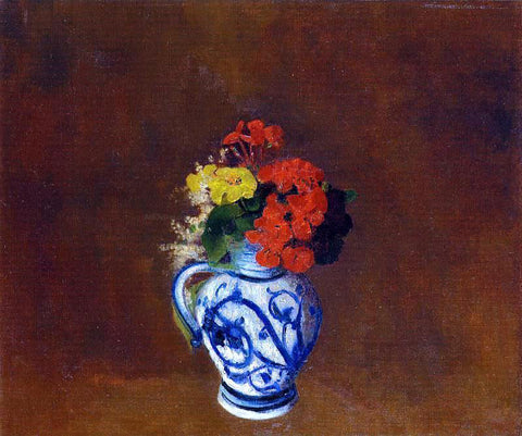 Odilon Redon Flowers in a Vase with Blue Decoration - Hand Painted Oil Painting