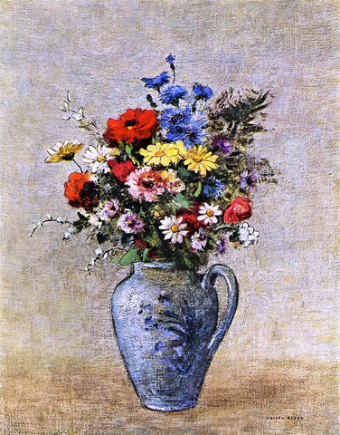 Odilon Redon Flowers in a Vase with one Handle - Hand Painted Oil Painting