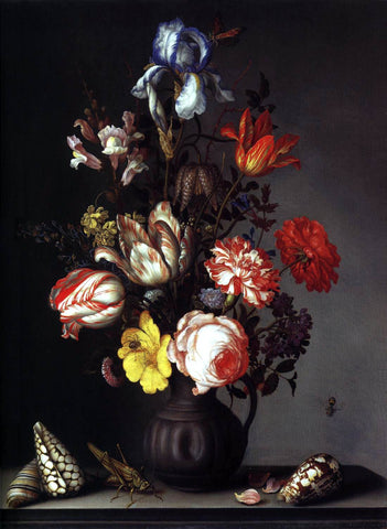 Balthasar Van der Ast Flowers in a Vase with Shells and Insects - Hand Painted Oil Painting