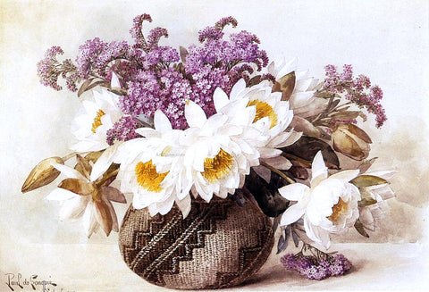 Raoul Paul Maucherat De Longpre Flowers in an Indian Basket - Hand Painted Oil Painting
