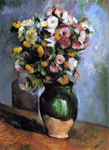 Paul Cezanne Flowers in an Olive Jar - Hand Painted Oil Painting
