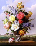 Anton Hartinger Flowers In An Urn On A Ledge - Hand Painted Oil Painting