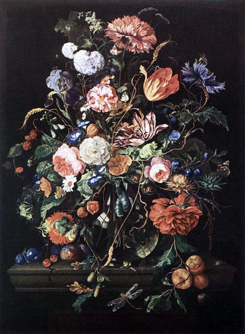 Jan Davidsz De Heem Flowers in Glass and Fruits - Hand Painted Oil Painting