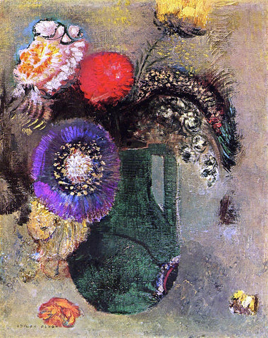 Odilon Redon Flowers in Green Vase with Handles - Hand Painted Oil Painting