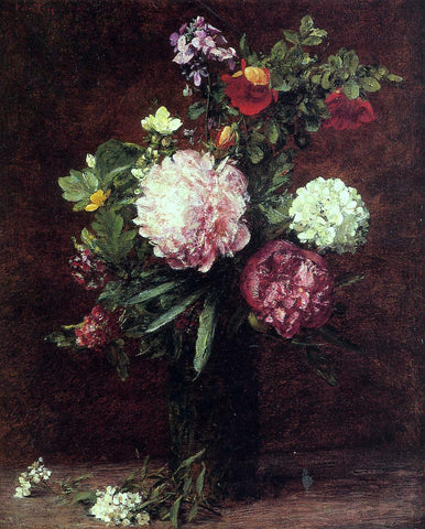 Henri Fantin-Latour Flowers, Large Bouquet with Three Peonies - Hand Painted Oil Painting