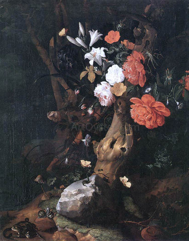 Rachel Ruysch Flowers on a Tree Trunk - Hand Painted Oil Painting