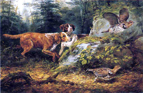 Arthur Fitzwilliam Tait Flushed: Ruffed Grouse Shooting - Hand Painted Oil Painting