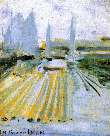 John Twachtman Fog and Small Sailboats - Hand Painted Oil Painting