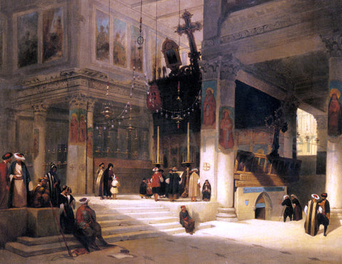Fabius Germain Brest Followers Inside An Eastern Church - Hand Painted Oil Painting