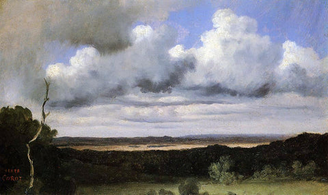 Jean-Baptiste-Camille Corot Fontainebleau, Storm over the Plains - Hand Painted Oil Painting