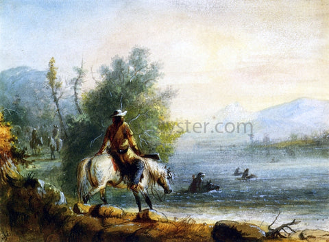 Alfred Jacob Miller Fording the River - Hand Painted Oil Painting