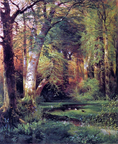 Thomas Moran Forest Scene - Hand Painted Oil Painting