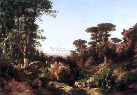 The Younger Karoly Marko Forest Scene at Ailo in Corsica - Hand Painted Oil Painting