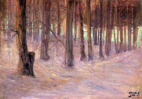 Egon Schiele Forest with Sunlit Clearing in the Background - Hand Painted Oil Painting