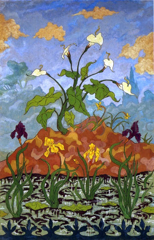 Paul Ranson Four Decorative Panels: Arums and Purple and Yellow Irises - Hand Painted Oil Painting