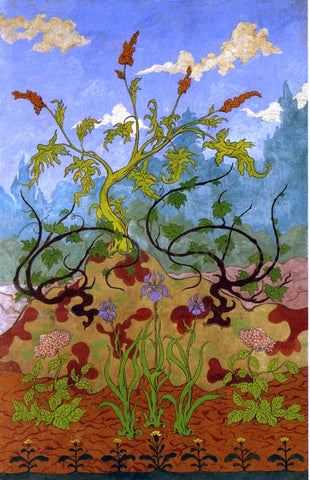 Paul Ranson Four Decorative Panels: Iris and Large Yellow and Mauve Flowers - Hand Painted Oil Painting