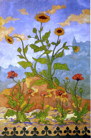 Paul Ranson Four Decorative Panels: Sunflowers and Poppies - Hand Painted Oil Painting
