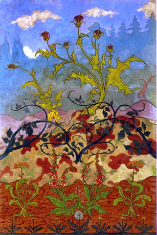 Paul Ranson Four Decorative Panels: Thistle and Digitales - Hand Painted Oil Painting