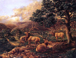 II Titian Ramsey Peale Four Elk - Hand Painted Oil Painting