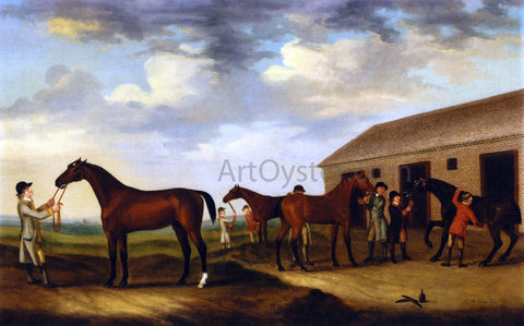 Francis Sartorius Four Racehorses Outside the Rubbing Down House, Newmarket - Hand Painted Oil Painting