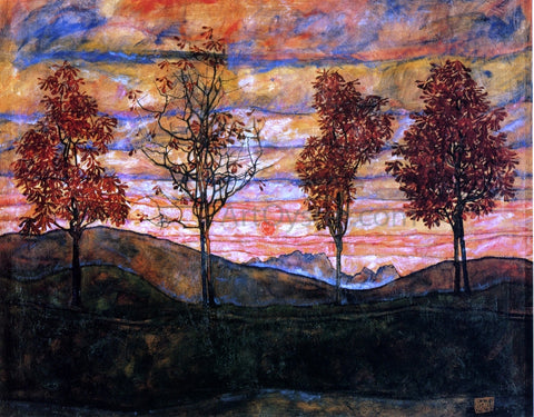 Egon Schiele Four Trees - Hand Painted Oil Painting