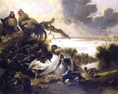 Gijsbert Gillisz De Hondecoeter Fowl on a Riverbank - Hand Painted Oil Painting