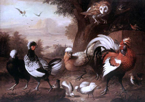Jakab Bogdany Fowls and Owl - Hand Painted Oil Painting
