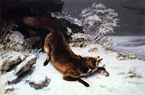Gustave Courbet Fox in the Snow - Hand Painted Oil Painting