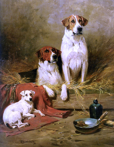 John Emms Foxhounds and a Terrier - Hand Painted Oil Painting