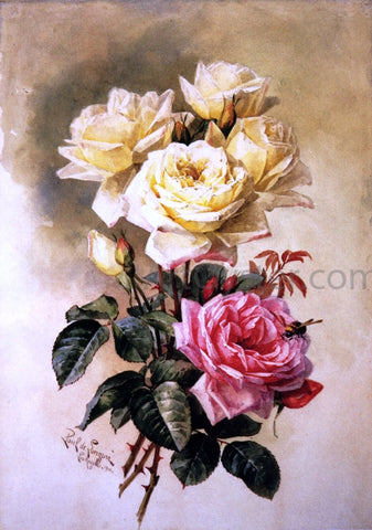 Raoul Paul Maucherat De Longpre French Bridal Roses - Hand Painted Oil Painting