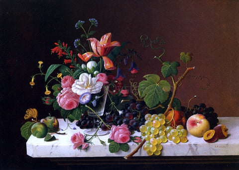 Severin Roesen Fruit and Flowers on a Marble Table Ledge - Hand Painted Oil Painting