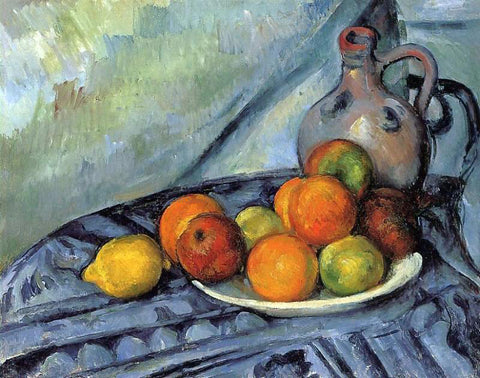 Paul Cezanne Fruit and Jug on a Table - Hand Painted Oil Painting