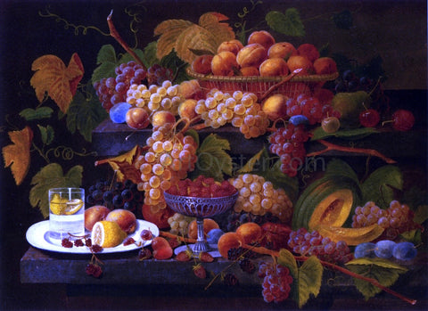 Severin Roesen Fruit and Lemon Water - Hand Painted Oil Painting
