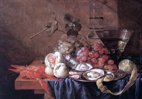 Jan Davidsz De Heem Fruit and Seafood - Hand Painted Oil Painting