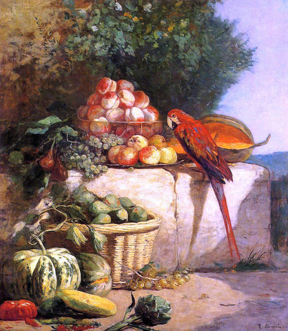 Eugene-Louis Boudin Fruit and Vegetables with a Parrot - Hand Painted Oil Painting